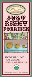 just right porridge hot cereal label